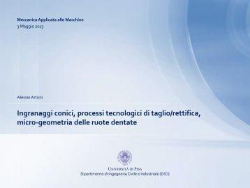 Ingranaggi spiroconici e ipoidi - Ingegneria Meccanica, Nucleare e ...
