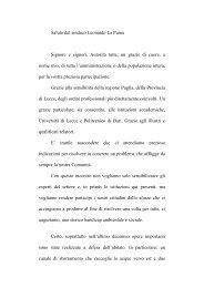 Saluto del sindaco Leonardo La Puma - Idrotecnica Pugliese