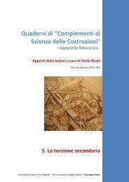 La torsione secondaria - Università degli Studi di Roma Tor Vergata