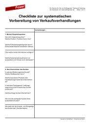 Checkliste zur systematischen Vorbereitung von ...