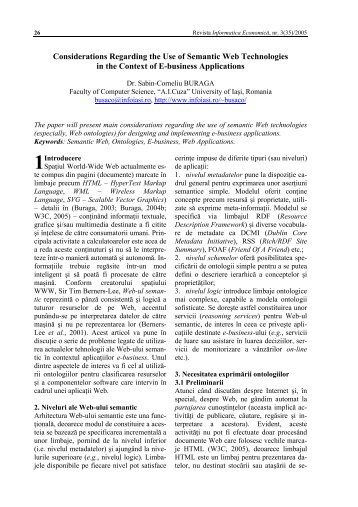 Considerations Regarding the Use of Semantic Web Technologies ...