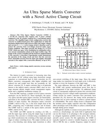 An Ultra Sparse Matrix Converter with a Novel Active Clamp Circuit