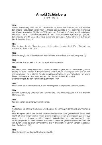 Arnold Schoenberg Biographie - Theater Ulm