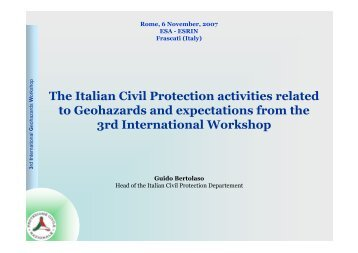 The Italian Civil Protection activities related to Geohazards ... - ESA