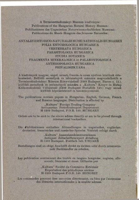 Budapest 1977 - Magyar Természettudományi Múzeum