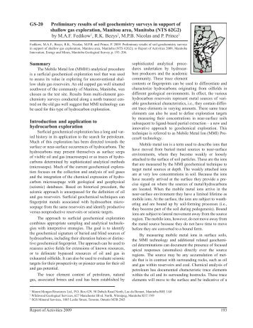 Preliminary results of soil geochemistry surveys in support of ...
