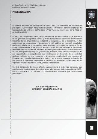 La Población Indígena del Ecuador. Análisis de Estadísticas ... - Acnur