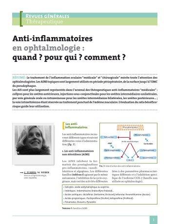 Anti-inflammatoires en ophtalmologie : quand ? pour qui ? comment ?