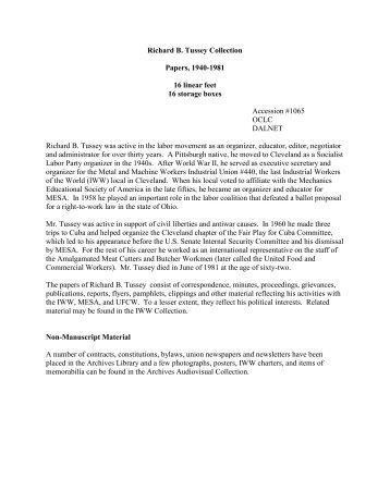 Richard Tussey Papers - Walter P. Reuther Library