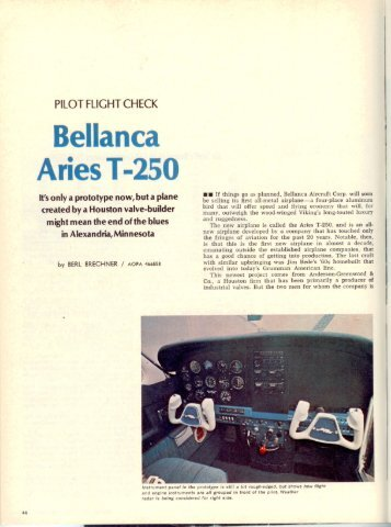 Bellanca Aries T-250 - Aero Resources Inc