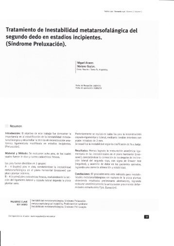 Tratamiento de inestabilidad metatarso-falángica del ... - FLAMECIPP