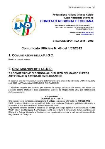 Comunicato Ufficiale N. 48 del 1/03/2012 COMITATO REGIONALE ...