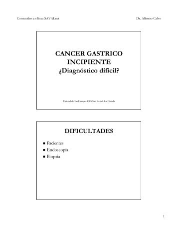 DIFICULTADES EN EL DIAGNOSTICO DE CANCER INCIPIENTE
