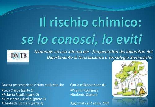 Il rischio chimico - Dipartimento di Neuroscienze e Tecnologie ...