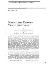 MAKING THE RECORD;* TRIAL OBJECTIONS** - Evidence