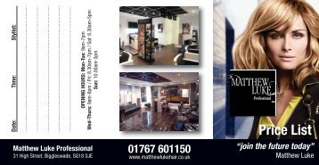 Price List - Matthew Luke Professional