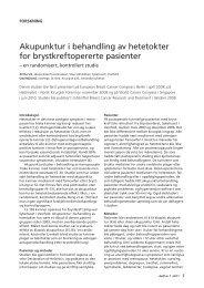 Akupunktur i behandling av hetetokter for brystkreftopererte pasienter