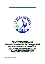 Elezioni amministrative del Comune di Mirano (Ve) 6-7 maggio 2012