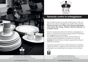 Garanzia contro le scheggiature - Rak Porcelain Europe