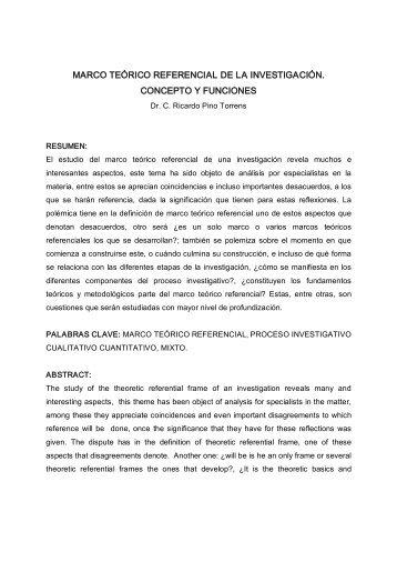MARCO TEÓRICO REFERENCIAL DE LA INVESTIGACIÓN. CONCEPTO Y FUNCIONES