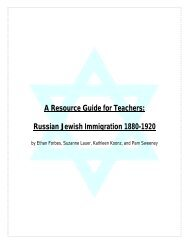 Russian Jewish Immigration 1880-1920 - Fitchburg State University