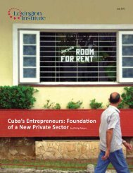 Cuba's Entrepreneurs: Foundation of a New Private Sector