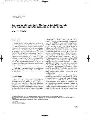 Conoscenze e immagini delle Mutilazioni Genitali Femminili ... - CIS