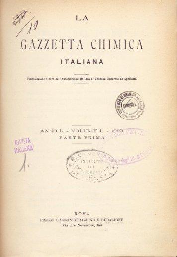 Paterno La gazzetta chimica italiana