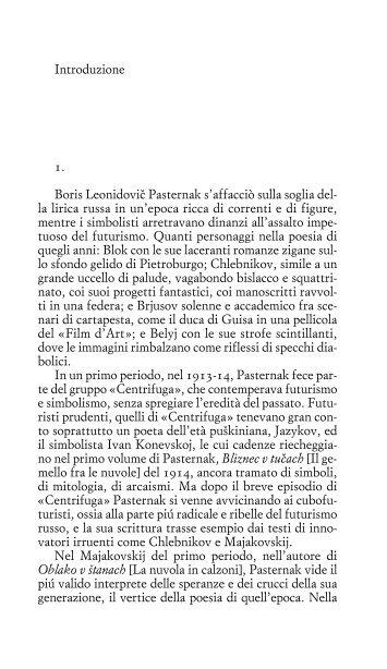 Introduzione 1. Boris Leonidovi™ Pasternak s'affacciò ... - Einaudi