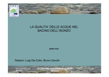 la qualita' delle acque nel bacino dell'isonzo - Autorità di Bacino dei ...