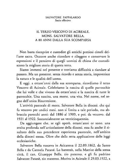 Pappalardo S., Il terzo Vescovo di Acireale, Mons. Salvatore