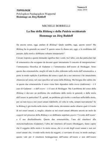 MICHELE BORRELLI La fine della Bildung e della ... - Topologik