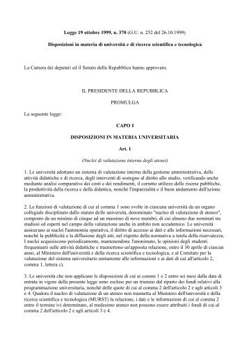 Legge 19 ottobre 1999, n. 370 (G.U. n. 252 del 26.10.1999 ... - Crui