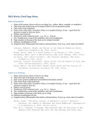 MLA Works Cited Page Notes