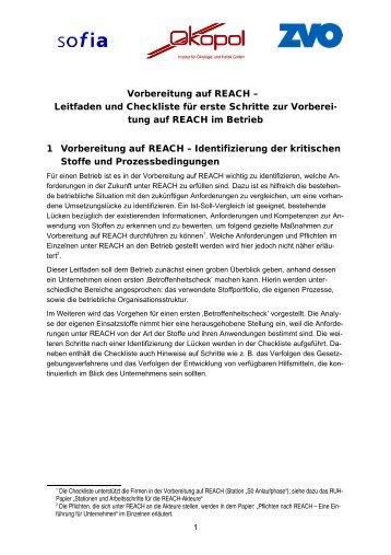 Vorbereitung auf REACH – Leitfaden und Checkliste für erste ...
