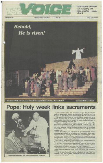 Pope: Holy week links sacraments - E-Research