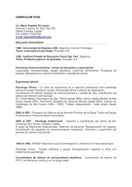 Curriculum Vitae Lic Maria Angeles De Lazzer Domicilio