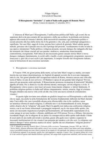"""Il Risorgimento intristito - Centro Studi """"Romolo Murri"""""""