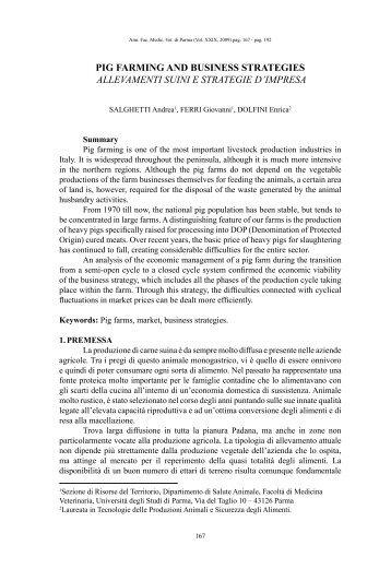 Pig farming and business strategies - Università degli studi di Parma