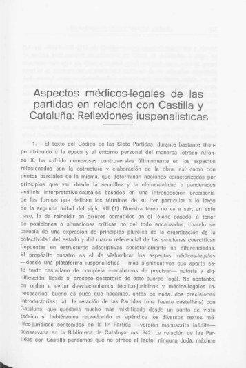 Aspectos médicos-legales de las partidas en relación con Castilla y ...