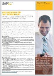 EINSTIEGSPAKET FÜR SAP® BUSINESS ONE