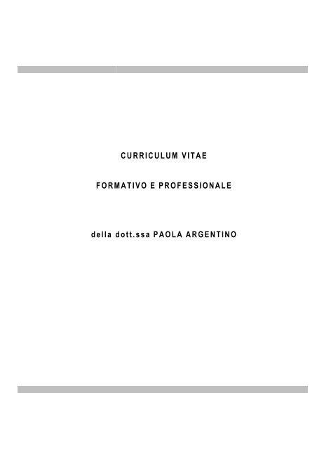 Curriculum Vitae Dott Ssa Paola Argentino Istitutoninotrapani Org