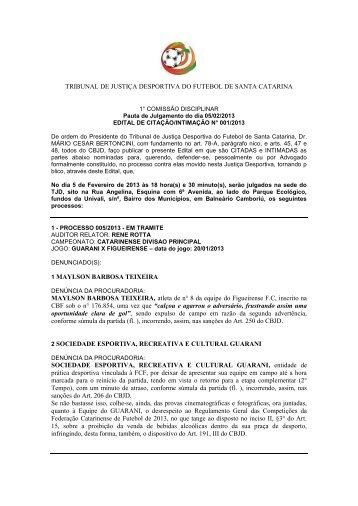 Edital de citação 001-13 para 05-02 - Federação Catarinense de ...
