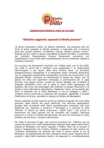 """""""Obiettivo raggiunto: superate le 50mila presenze"""" - Mostra del Bitto"""