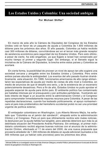 Los Estados Unidos y Colombia: Una sociedad ambigua - IRI