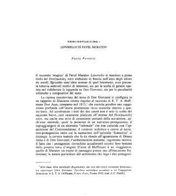 Il racconto 'magico' di Pavel Muratov Leporello si ... - Europa Orientalis