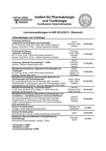 Institut für Pharmakologie und Toxikologie - Fachbereich 10 ...