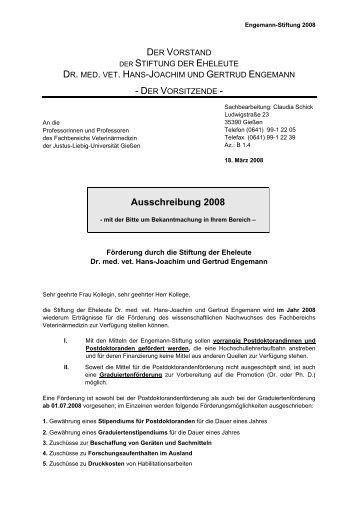 Ausschreibung 2008 - Fachbereich 10 - Veterinärmedizin - Justus ...
