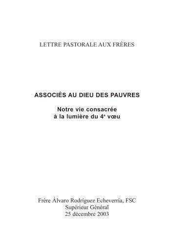 LETTRE PASTORALE AUX FRÈRES ASSOCIÉS AU DIEU DES ...