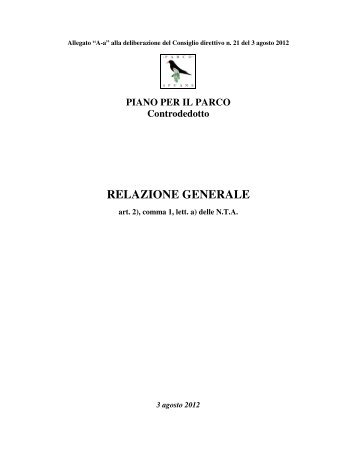 RELAZIONE GENERALE - Parco delle Apuane